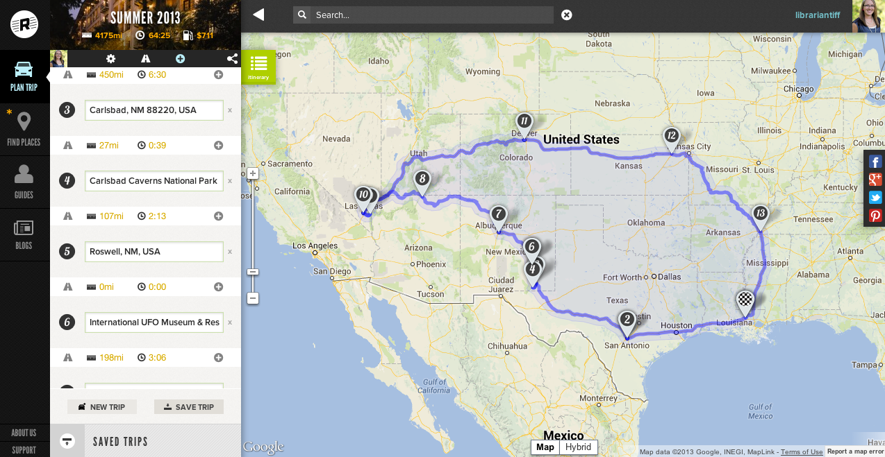 using roadtrippers you can easily map out your route easier than what i was trying to do with google maps you can insert all of your stops hotels